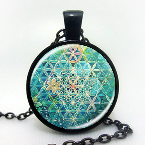 2016 Flower Of Life Art Photo zen Pendant Necklace charms Glass Cabochon Necklace Yoga Jewelry Lucky Amulet C3-Sunetra