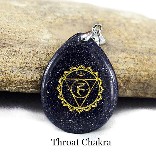 Reiki Engraved Natural Stone Chakra Pendant ~Boho Jewelry Water Drop Shape Black Obsidian Crystal Pendant Necklace Throat Charka-Sunetra