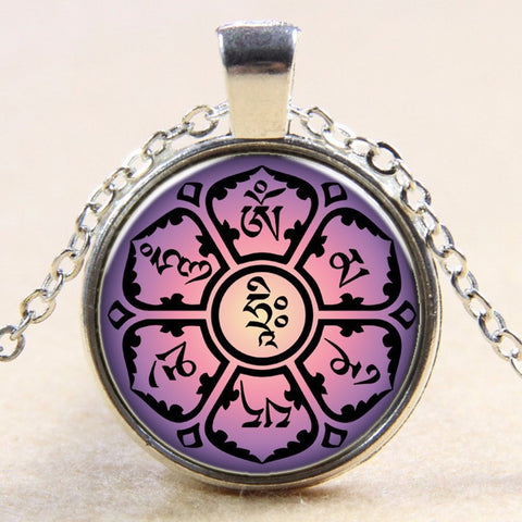 2016 Newest Style Casual Yoga OM Pendant Necklace Fashion Round Ethnic Silver Plated Colorful Murano Slass Jewelry Antique Silver Plated-Sunetra