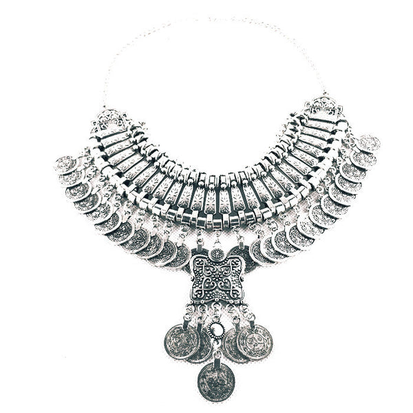 2016 hot tassel exaggerated long Silver Coin necklace women fashion statement necklaces & pendants for women fashion jewelry-Sunetra