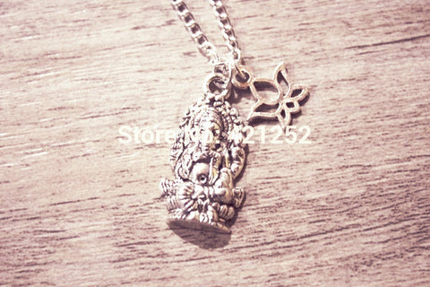 20 pcs Ganesha Necklace ~ Silver Ganesh Charm Necklace-Sunetra