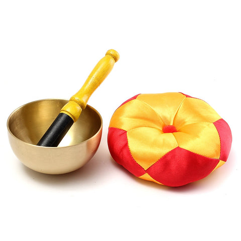 3Pcs/set Tibetan Singing Bowl Gift Set Metal Bowls Cushion Wooden Beater