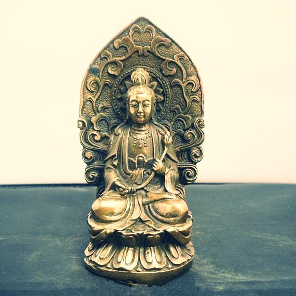 4.72 / Ancient Chinese copper ~ Three god ~ guanyin Buddha statue-Sunetra