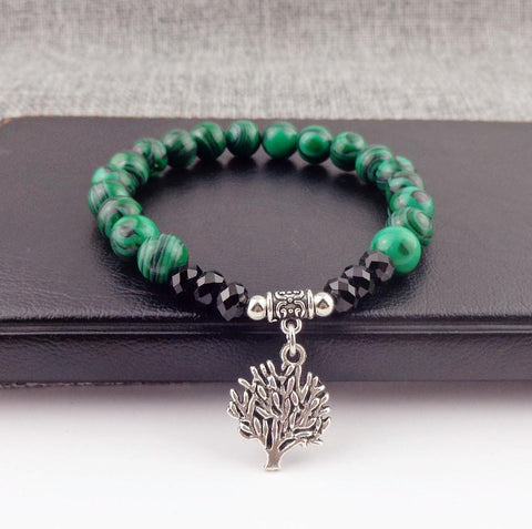 8mm Natural Chrysocolla Elastic bracelet ~ Tree of life-Sunetra