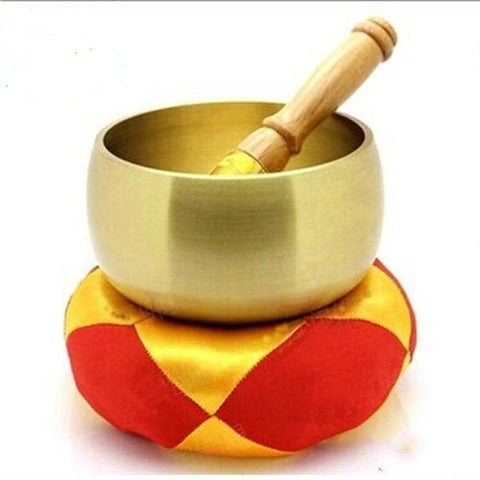 9.5cm Copper Tibetan Singing Bowl + Hand Stick and Cushion Home Decoration