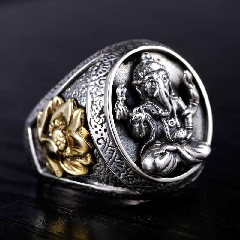 925 Silver jewelry Ganesh ring ~ single domineering personality lotus ~-Sunetra