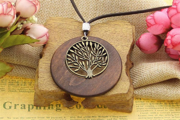 Alloy Life Tree Wooden Pendant Necklace ~ Tree Of Life-Sunetra