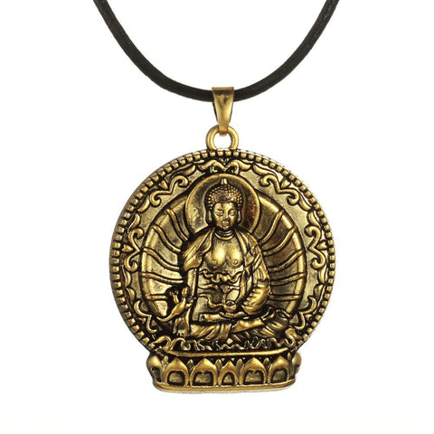 Antique Bronze Plated Religious Mandala Buddha Necklace Buddhist Jewelry ~-Sunetra
