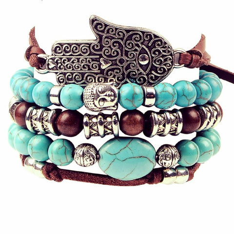 Artilady New Hamsa Hand ~ 5pcs Set Leather Bracelets-Sunetra