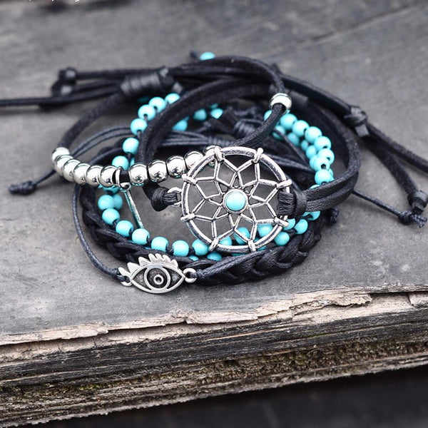 Artilady pu leather bracelets set vintage turquoise beads dreamcatcher bracelet bangles for women jewelry-Sunetra