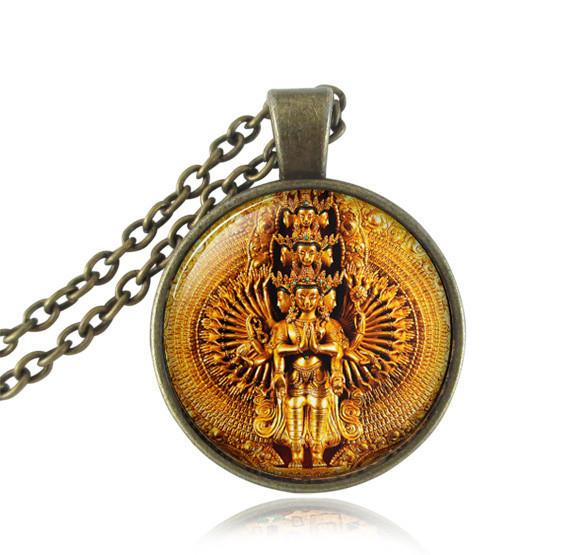 Avalokiteshvara statue pendant,19.99golden Thousand Armed Avalokiteshvara necklace Buddha necklace india Hindu jewelry Zen pendant 1-Sunetra