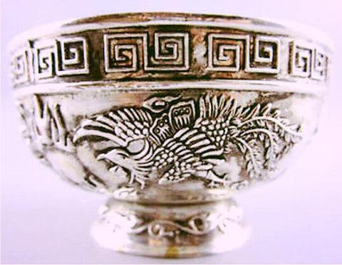 Handwork Tibet silver Carving Phoenix Dragon Bowl copper singing bowls~ Antique Garden statue-Sunetra