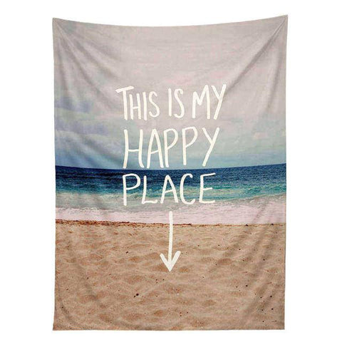 "Beach Tapestry ""My Happy Place"" ~Home Decor Tapestry Wall Hanging Bedspread ~4 Sizes-Sunetra"