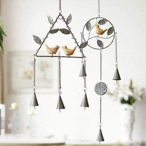 Bless Luck Iron Resin Bird Wind Chime For Wall Window Door Hanging ~-Sunetra