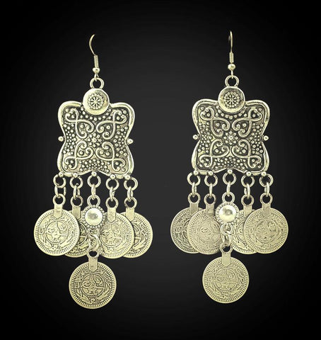 Flower Coin Earrings ~Ethnic Turkish Gypsy Jewelry-Sunetra
