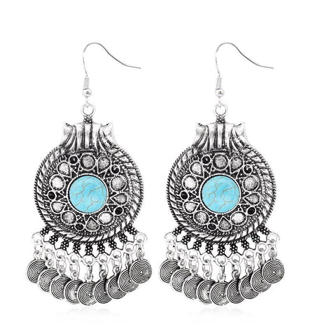 Bohemia Vintage Statement Turquoise Drop Earrings ~-Sunetra