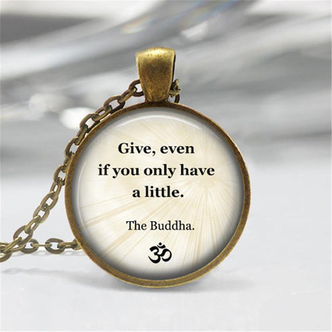 Buddhist Inspirational Quote Necklace ~Motivational Wisdom Pendant  AS Shown-Sunetra