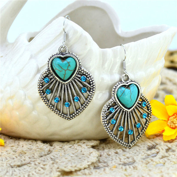 Tibetan Silver Plated ~ Heart Bead Turquoise Drop Dangle Earring-Sunetra