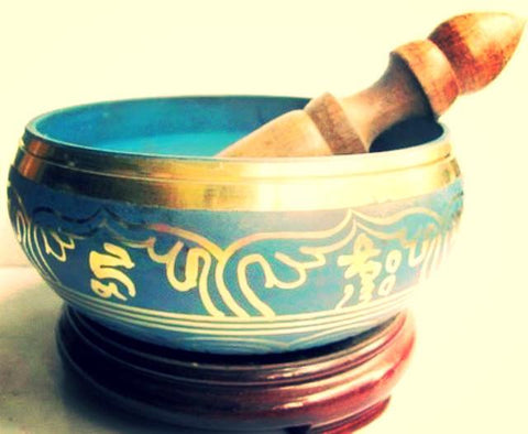 Collectibles Tibetan Buddhism Cuprum Mantra Singing Bowl Antique Garden Decoration~-Sunetra