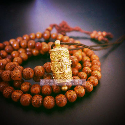 Copper Tibet Prayer Wheel Pendant Necklace ~Freely rotate smoothly~Metal crafts-Sunetra