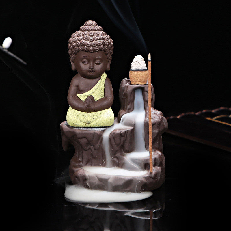 Little Monk Censer Ceramic Yixing Backflow ~Buddha Purple Clay Pottery Base Tea Pet Beige Buddha-Sunetra