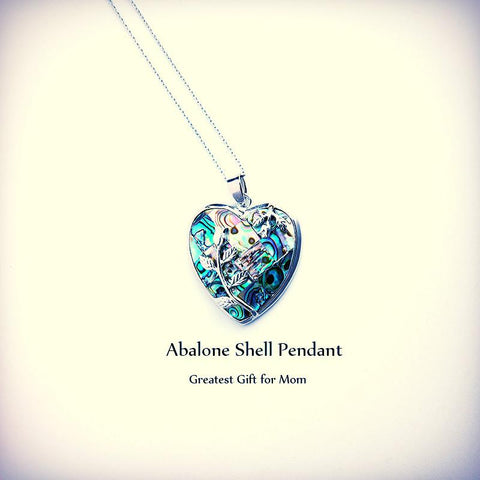 Exquisite Rose Wrapped Heart Shaped Paua Abalone Shell ~Pendant Necklace Peacock Jewelry-Sunetra