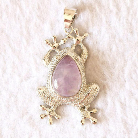 Dream Amethyst & abalone shell frog pendant ~ Dream Amethys-Sunetra