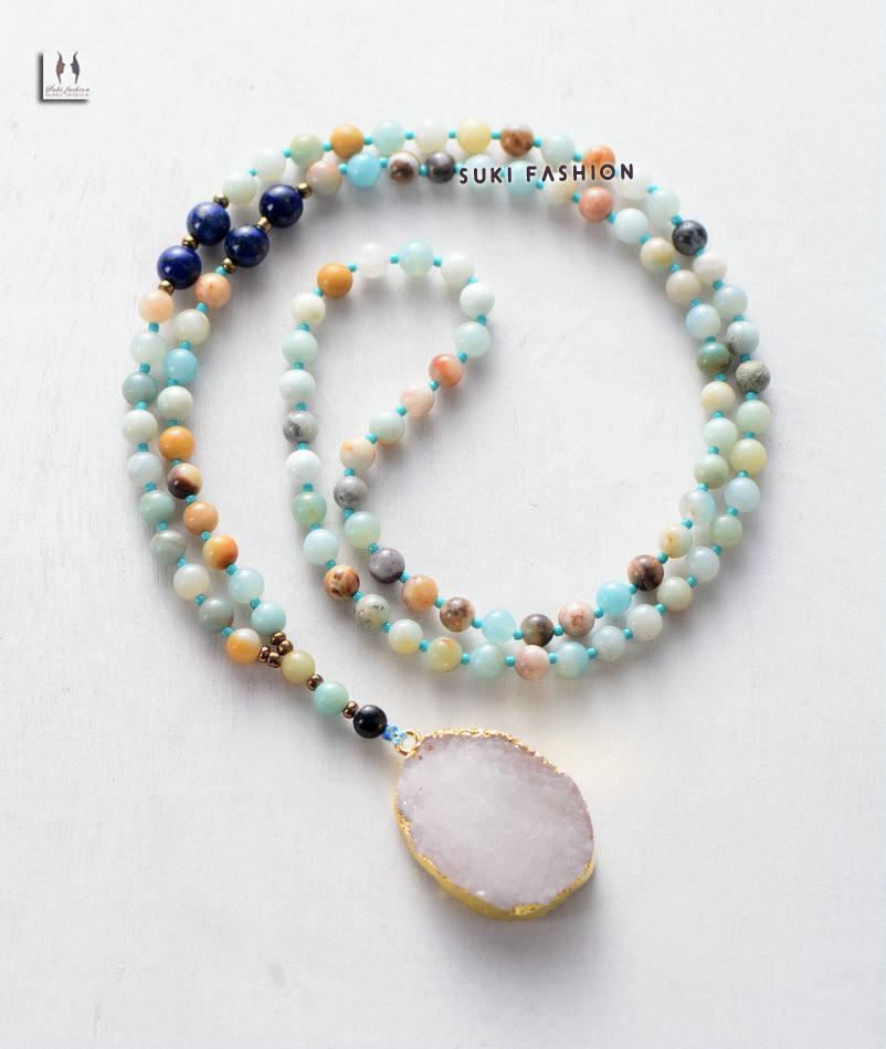 Druzy Necklace Semi Precious Stones With Natural Gilded Drusy Pendant Necklace Handmade Beaded Women Rosary Necklace Amazonite-Sunetra