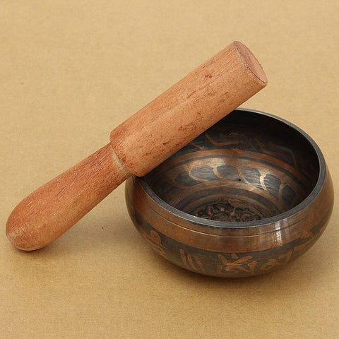 Yoga Chinese Tibetan Meditation Singing Bowl With Hand Stick Metal Crafts-Sunetra