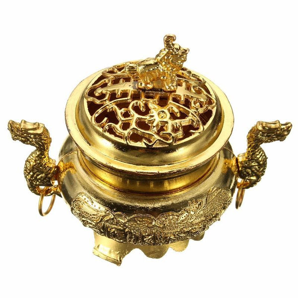 Elegant Multifunction Metal Craft Mini Alloy Antique Bronze Incense Burner Sandalwood Censer Tibetan Incense Burner Home Decor-Sunetra