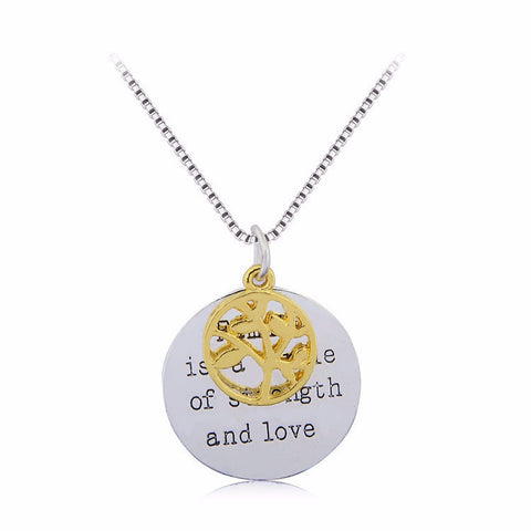 Life of Tree Pendant ~Hollow Gold Life of Tree With Engraved Letter Pendant Necklace-Sunetra