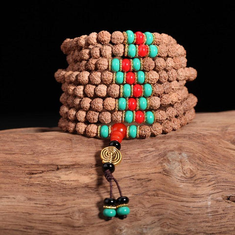 Handmade Natural Rudraksha Beads Bracelet Necklace ~108 Buddha Bracelets ~ॐ-Sunetra