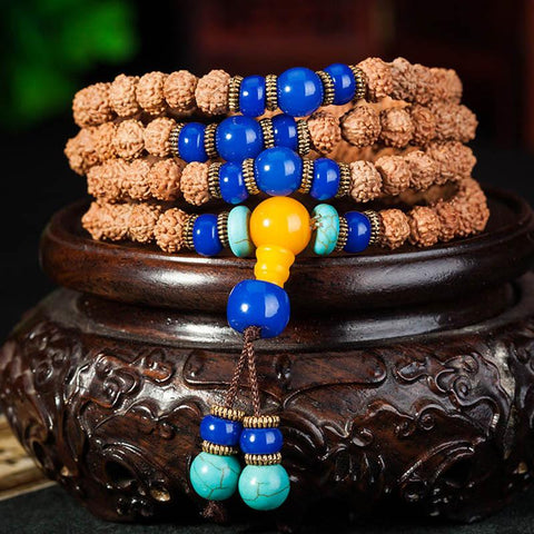 Handmade Natural Rudraksha Beads Bracelet Necklace ~108 Buddha Bracelets ~ ॐ-Sunetra