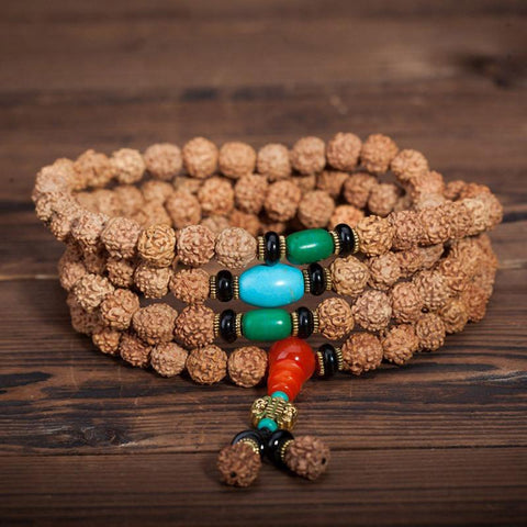 Handmade Natural Rudraksha Beads Bracelet Necklace ~108 Buddha Bracelets~ॐ-Sunetra