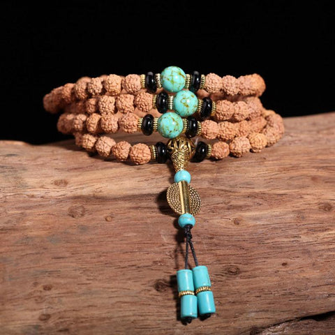 Handmade Natural Rudraksha Beads Bracelet Necklace~108 Buddha Bracelets~ॐ-Sunetra