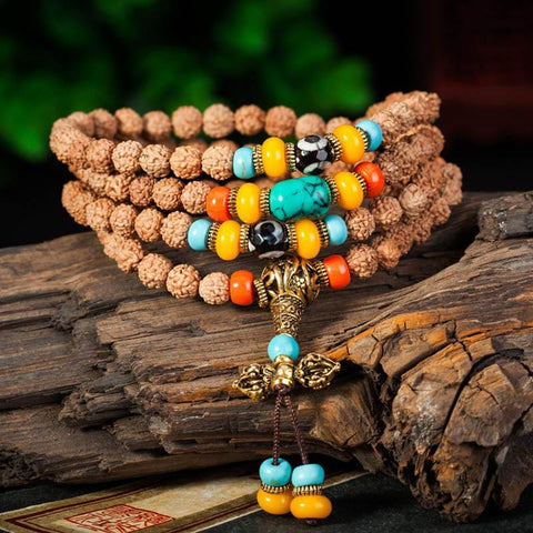 Handmade 108 Natural Rudraksha Beads Bracelet Necklace ~ ॐ-Sunetra