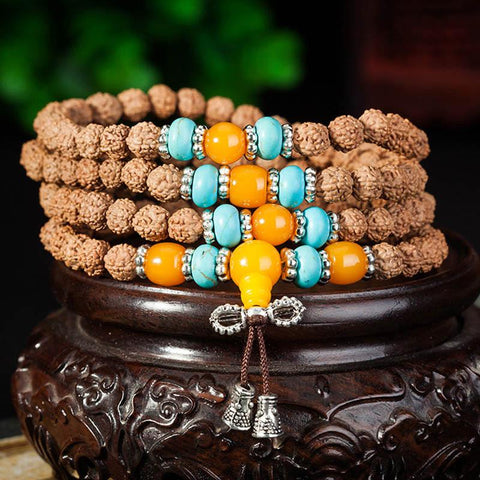 Handmade Natural Rudraksha Beads Bracelet Necklace~108 Buddha Bracelets ~ॐ-Sunetra