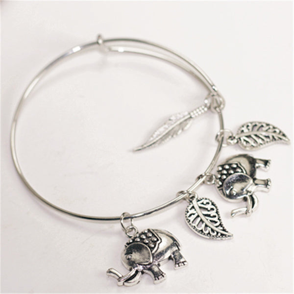 Mix pendant bracelets ~Indian elephants ~leaves and feather bracelets bangles ~