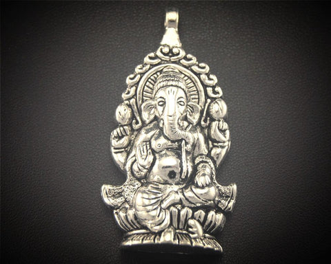 3pcs Antique Sliver Large Ganesh Pendant ~ 59x30mm-Sunetra