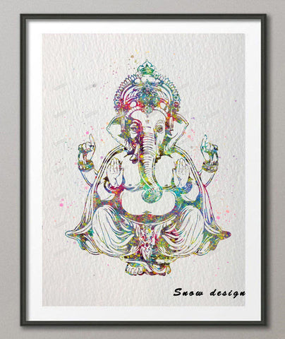 Ganesh Elephant watercolor canvas painting
