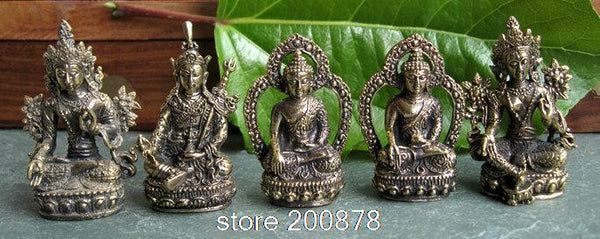 Tibet mini Pocket Amulet Buddha Crafts 43-48mm Desk Old Golden Buddha status decor Lotus-born Treasure Collections-Sunetra