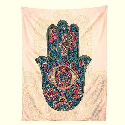 Hamsa Hand Tapestry Indian Mandala Floral Wall Hanging Tapestry ~ Home Psychedelic Bedspread ~4 Sizes-Sunetra