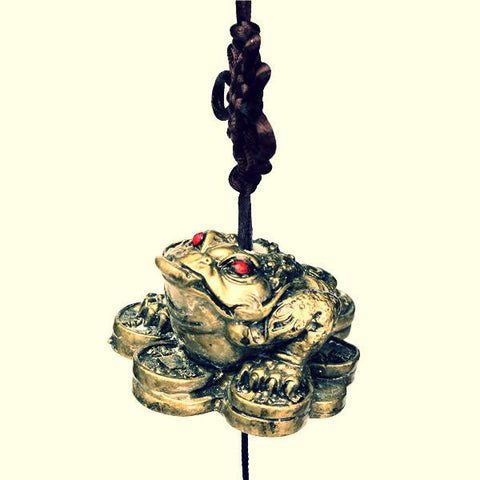 High Quality Lucky Toad ~ 5 Bells Copper Wind Chime Garden Ornament-Sunetra