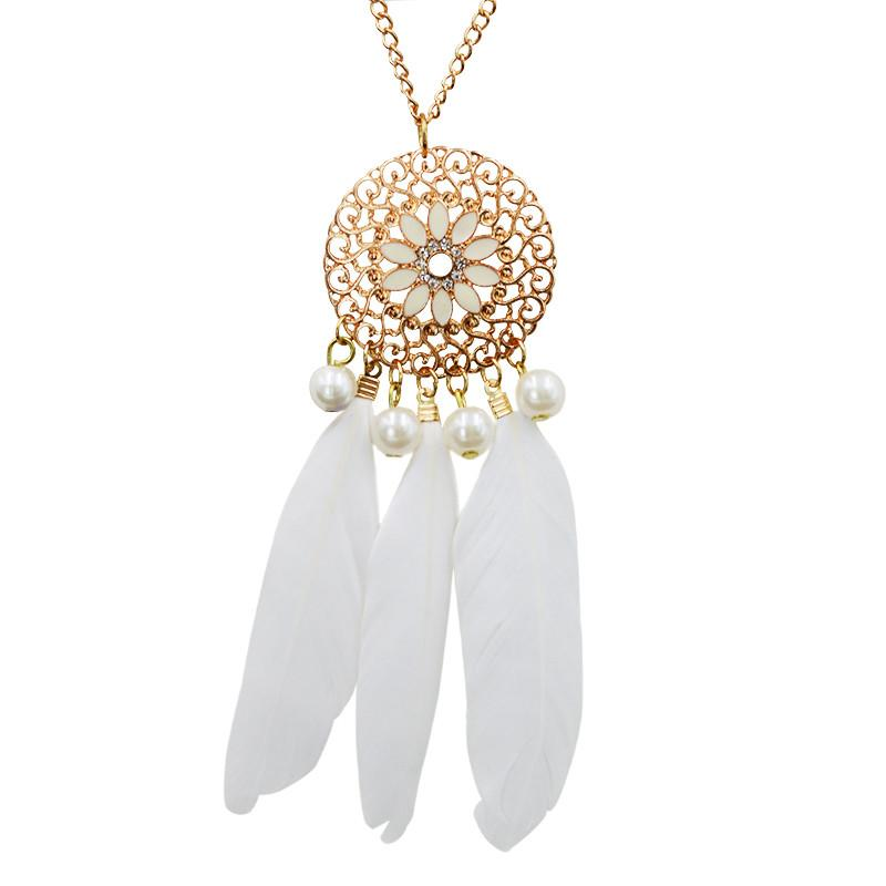 Hot Indian Style Jewelry Bohemian Ethnic Dreamcatcher Feather Pendant Necklace Vintage Summer BOHO Necklace For Women Wholesale white-Sunetra