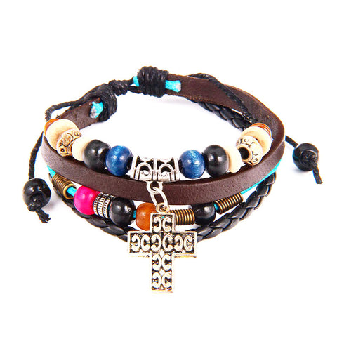 Handmade Beaded Cross ~ Leather Adjustable Multilayer Bracelet & Bangle