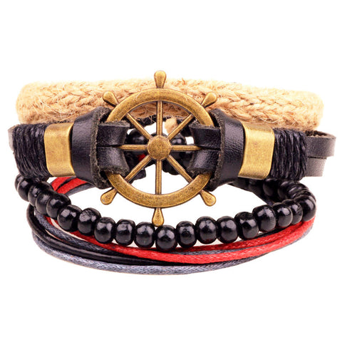 1Set 4pcs ~ Braided Adjustable Leather Bracelets ~ Cuff Vintage Jewelry ~-Sunetra
