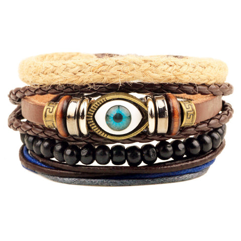 1Set 4pcs ~ Braided Adjustable Leather Bracelets ~Cuff Vintage Jewelry-Sunetra