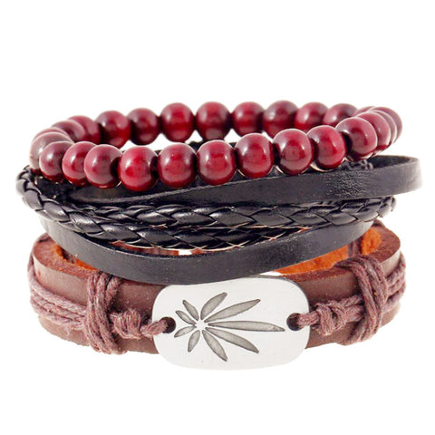 1Set 4pcs ~ Braided Adjustable Leather Bracelets ~ Cuff Vintage Jewelry-Sunetra