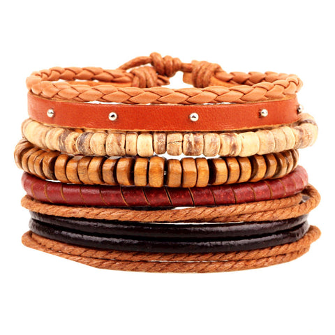 1Set 4pcs ~Braided Adjustable Leather Bracelets ~ Cuff Vintage Jewelry e 5a314-Sunetra