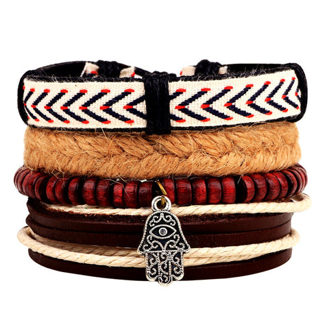 1Set 4pcs ~Braided Adjustable Leather Bracelets ~Cuff Vintage Jewelry-Sunetra